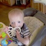 little boy in high chair